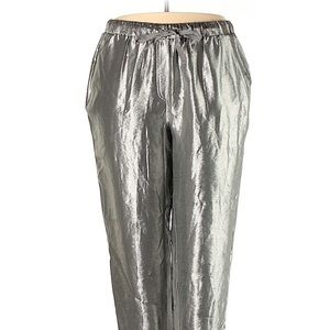 Lane Bryant high rise silver metallic crop pants
